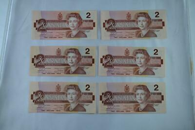 Lot of Six 1986 Bank of Canada $2 Two Dollar Note Ungraded See Description