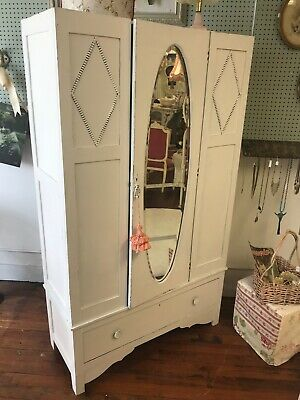 Shabby Chic Style Armoire with Mirror Distressed
