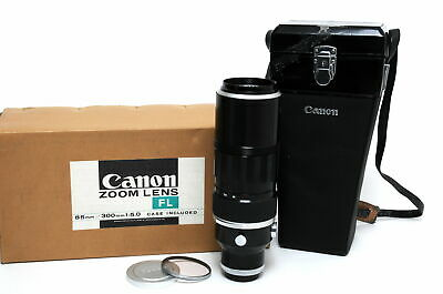 Canon 5/85-300 mm FL Zoom lens clean glass boxed for FD camera boxed w. case