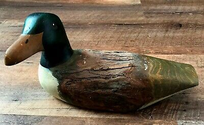 "Vintage 9"" Hand-painted Wooden Mallard Duck w/Tree Bark Back"