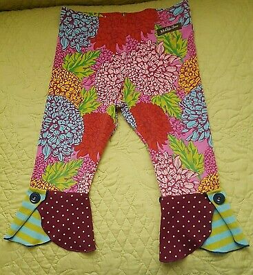 MATILDA JANE PAINT by NUMBERS Gallery Leggings Pants Floral Stripes Size 2-EUC