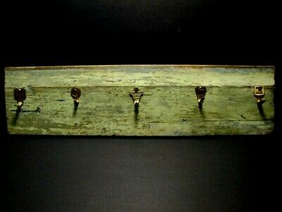 Vintage One of a Kind Wall Key Holder, Distressed Old House Wood & Brass Keys