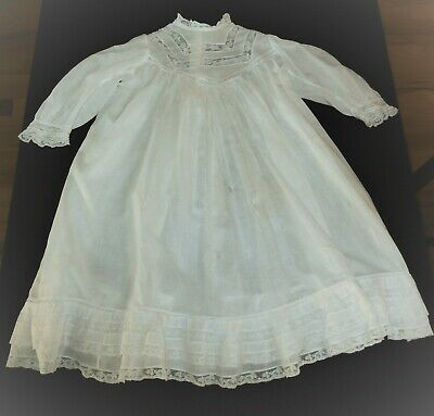 Antique Batiste Baby Christening Gown Lace Pinched Gathers TLC