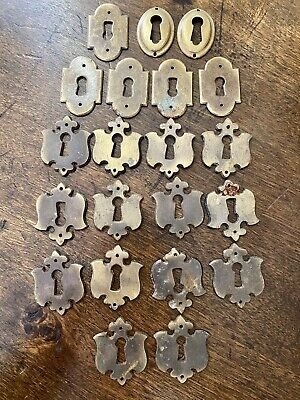 Lot Of 21 Vintage Antique Ornate Key Hole Covers Door Cabinet Drawer Escutcheon