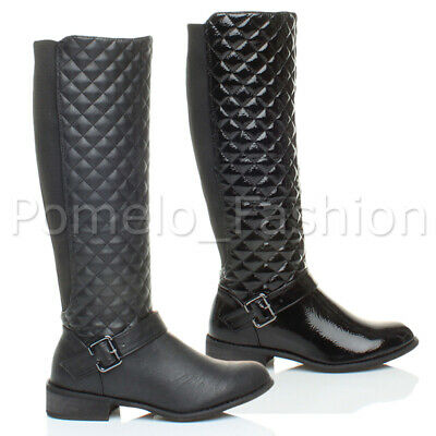 Womens Ladies Low Heel Quilted Riding Biker Elastic Stretch Zip Calf Boots Size