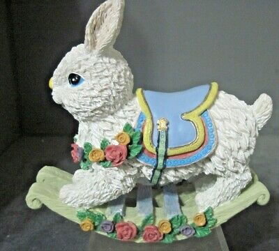Vintage Replica White Rocking Horse Bunny Rabbit Easter Spring New!