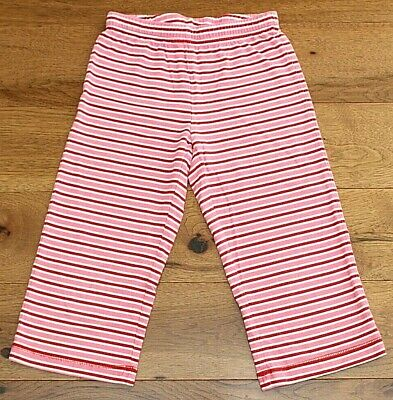 Hanna Andersson RED STRIPE CROPPED LEGGINGS sz 6 7 120 Girl Pink Loose Fit Capri