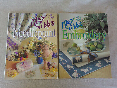 2 x May Gibbs  Paperback Books Embroidery & Needlepoint Both 80 pages & Colour