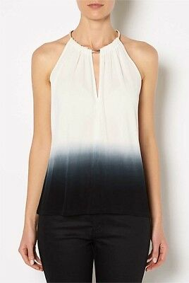 Witchery tie dip dye halter top with gold neck detailing size XS