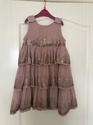 Ted Baker Girls Pink Party Dress Sequin Embellished Bows Tiered Sz 4-5
