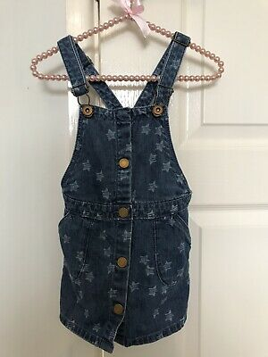 Zara Girls Dungaree Dress Denim Stars 3-4 Bnwot