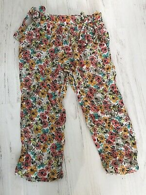ZARA GIRLS FLORAL TROUSERS SZ 3-4 With Bows