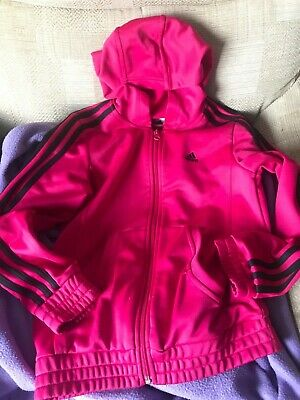 Age 11-12 ADIDAS PINK HOODED girls Jacket zip up lightweight spring/summer 💕