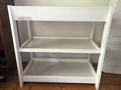 White Baby Wooden Change Table, Extra Slimline, Includes Mat