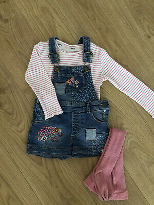 Next Baby Girls Grey Culotte Dungarees BNWT Grey Top Outfit//Set
