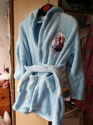 Girls Blue Gorgeous Frozen Anna And Elsa Dressing Gown 3 4 Years