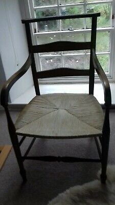 Arts And Crafts Chair With Rush Seat (possibly Victorian )