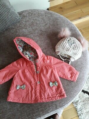 Baby Girls Coat And Hat Age 3-6 Mnths