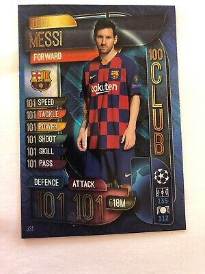 MATCH ATTAX 19/20 Champions League 101 101 Hundred Club Lionel MESSI Card