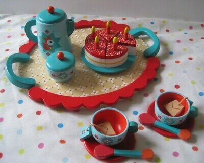 Djeco Birthday Party Tea Set, wooden play food kitchen role play