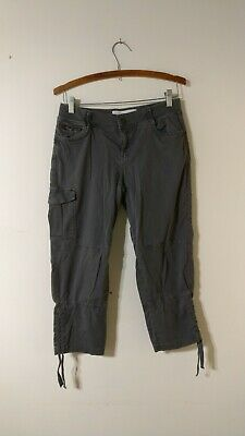 Sonoma Capris Size 4 Grey Cargo Cropped Mid Rise Stretch Cotton Pants