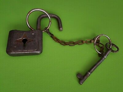 Antique Iron Padlock With Star Cut-Out & Working Skeleton Key