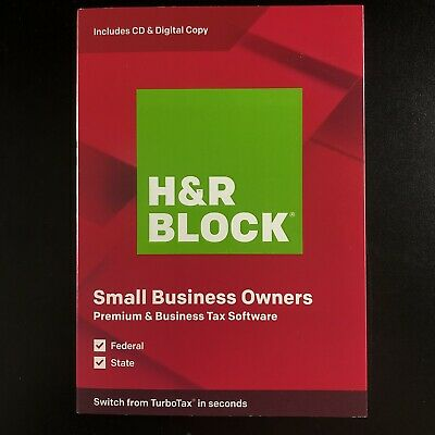 New H&R Block Small Business Owners Premium & Business Tax Software 2019 CD