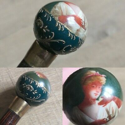 "Antique French Hand Painted Porcelain Lady's Walking Cane 33.5"" Long"