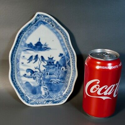 Antique Chinese Blue & White Export Porcelain Dish Plate Willow Pagoda Leaf 18C