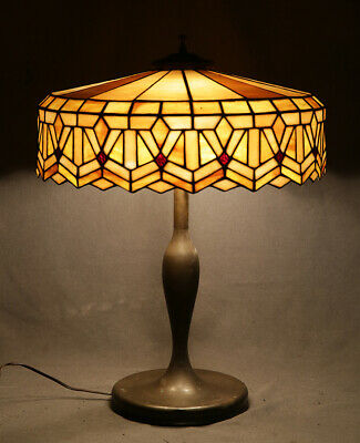 Suess Geometric Art Deco Antique Table Lamp Leaded Glass with Brass Base