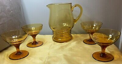 Art Deco  Retro Amber Glass Pitcher / Jug & 4 Cocktail/ Champagne Bowls/saucers