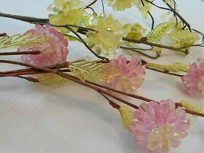 Vintage Decorative Celluloid Flowers On Wire Bendable Stems Yellow Green Pink