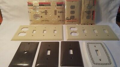 Art Deco MCM Vintage Brown/Ivory Bakelite Ribbed Switch Wall  Plate Covers