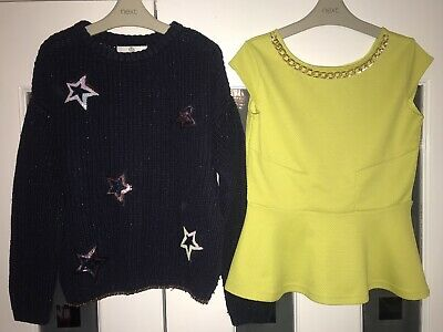 Girls Age 9-10 Years, River Island, Peplum Top + M&S, Navy Star Jumper L@@K