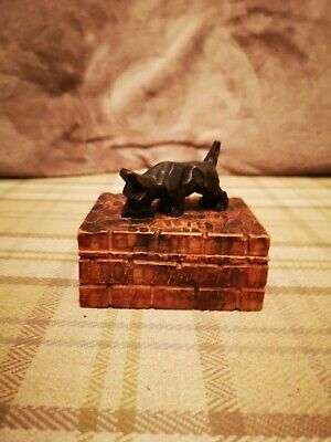 Vintage Art deco 1930's Wood Box Treen Arts and Crafts With Scottie Dog.