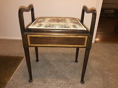Antique Piano Stool. Lifting Lid. Cushioned Upholstery Seat