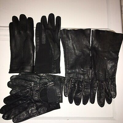 3 Pairs Vintage Ladies Classic Black Leather Driving Gloves Small