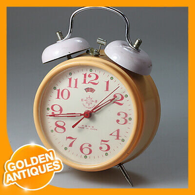 HELM BRAND China Mechanical yellow plastic metal Wind up Double Bell Alarm Clock