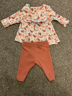 Cute M&S Baby Girls Outfit 0-3 Floral Pink