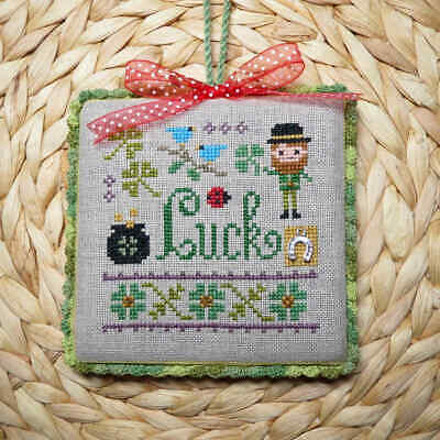 Finished Cross Stitch Ornament - Luck - Lizzie Kate