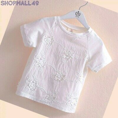 Girls Summer Top Short Sleeve White off Tops Lace Outwear Age 2-10 years