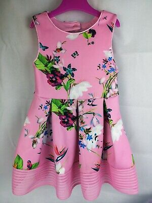 Ted Baker Girls Floral Dress - Pink 3-4 Years Old Wedding Butterfly