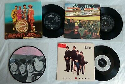 """BEATLES 4 x UK 7"""" RECORDS PICTURE SLEEVE & DISC REISSUES"""