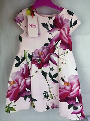 Brand New Ted Baker Girls Floral Dress - Pink 2-3 Years Old Wedding With Tags