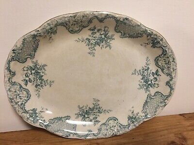 Large Antique White And Teal Meat Plate Server Centrepiece Gilded