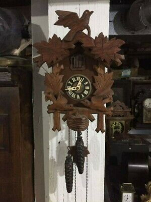 Antique German black forest Cuckoo Clock birds in nest