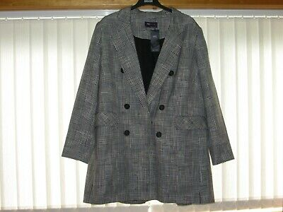 Marks And Spencer Collection Black Mix Checked Tailored Coat Size 22 Bnwt
