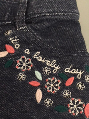 girl Gymboree embroidered pants leggings jeans Sz 10 cotton spring summer