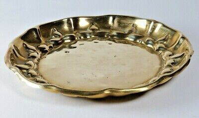 Antique Art Nouveau fluted edge brass tray marked Beldray