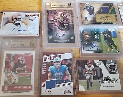 NFL Football Hot Pack Auto Jersey Bgs Encased Card Lot Hit Rookie Grab Bag Rd 6